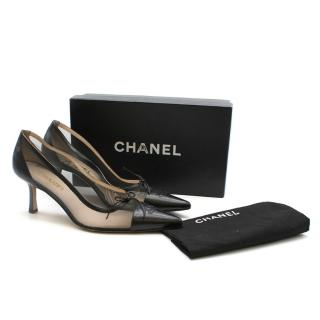 Chanel Black Leather & Mesh CC Cap-Toe Pumps