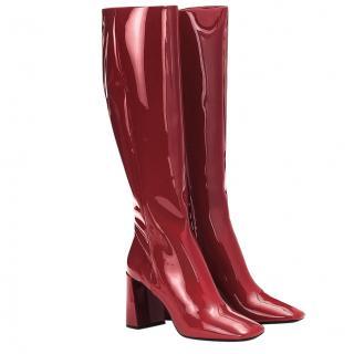 Prada Cherry Red Patent Leather Knee Boots - New Season