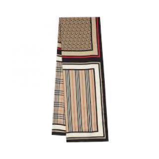 Burberry Monogram, Icon Stripe & Check Silk Scarf - Archive Beige