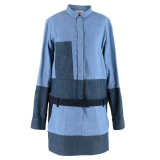 Celine by Phoebe Philo Denim Patchwork Mini Dress
