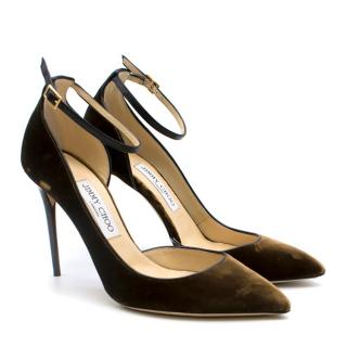 Jimmy Choo Brown Lucy Half-d'Orsay Velvet Pumps