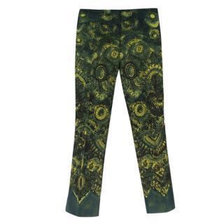 Prada Green Printed Wool & Silk Blend Pants