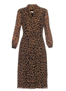 Burberry Leopard Print Pussybow Dress