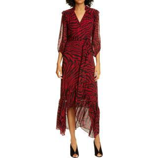 Ba&Sh Selena Animal Print Ruffle Detail Midi Wrap Dress