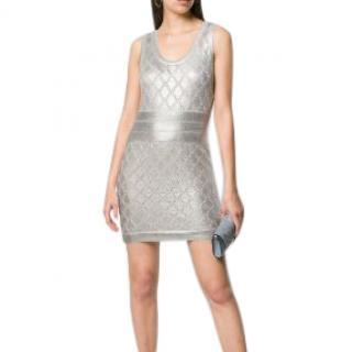 Balmain Metallic Silver Knit Mini Dress