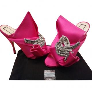 No.21 Crystal Embellished Hot Pink Bow Mules