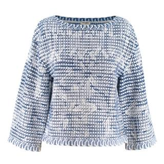 Chanel Blue & White Woven Oversize Boxy Top