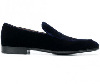 Gianvito Rossi Blue Velvet Loafers