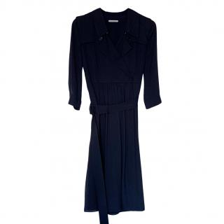 Burberry Navy Crepe Military Dress