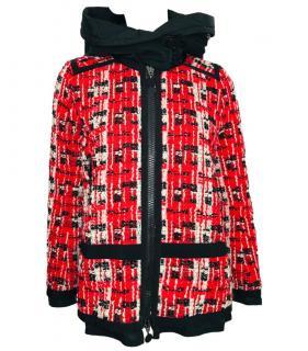 Moncler Red & White Tweed Coat