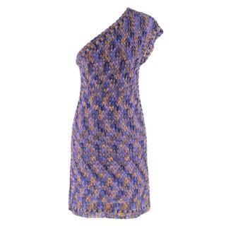 Missoni One Shoulder Purple Knit Mini Dress