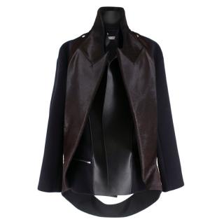 Celine Wool & Cashmere Blend Jacket with Leather & Fur Trim