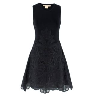 Antonio Berardi Black Embroidered Sleeveless Dress