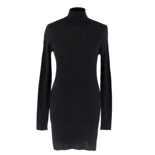 Prada black ribbed turtleneck jumper dress