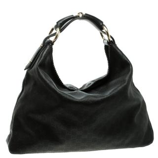 Gucci Black Monogram Leather Large Horsebit Hobo Bag