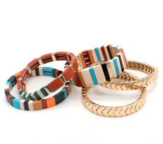 Roxanne Assoulin Set of 5 Gold Plated & Enamel Bracelets