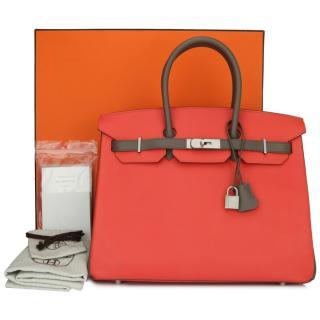 Hermes Bi-color Rouge Pivoine/ Etain Epsom Special OrderLeather Birkin
