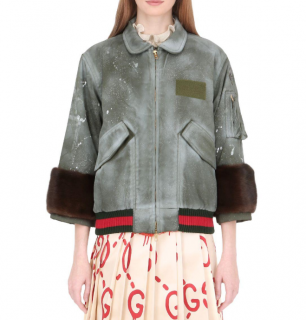 Gucci Khaki Spray Painted Bomber Jacket W/ Mink Fur Cuffs