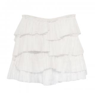 Louis Vuitton White Cotton Voile Ruffled Mini Skirt