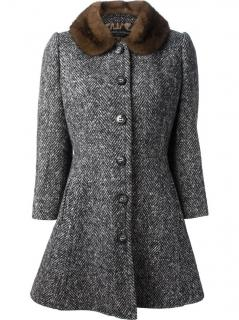 Dolce & Gabbana Wool Chevron Coat W/ Mink Fur Trim