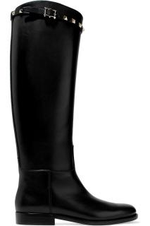 Valentino Garavani black leather Rockstud boots