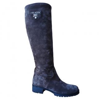 Prada Brown Suede Knee Boots