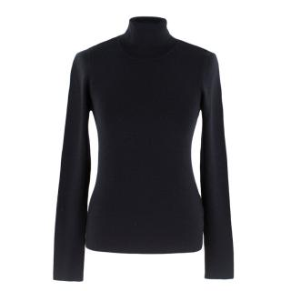 Prada Black Wool and Silk Turtle Neck