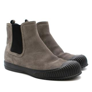 Prada Grey Suede Flat Ankle boots