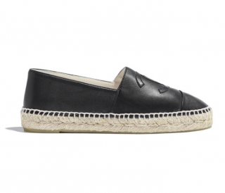 Chanel Black Lambskin Leather Espadrilles