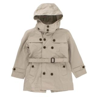 Burberry kids Hooded Trench Coat Beige