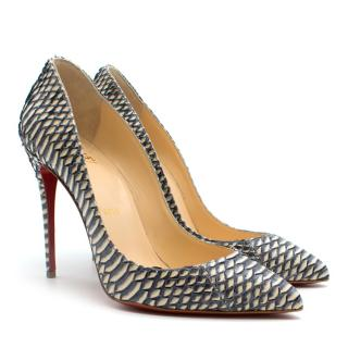 Christian Louboutin Blue & White Python 100mm Pumps