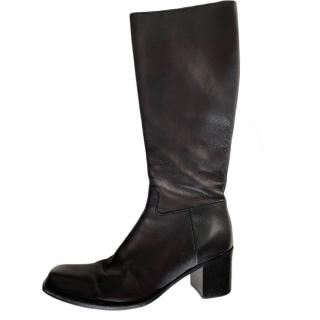 Prada Black Leather Knee Boots