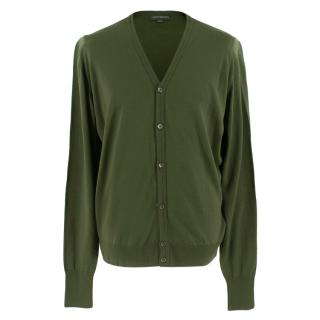 John Smedley Whitchurch Green Wool Cardigan