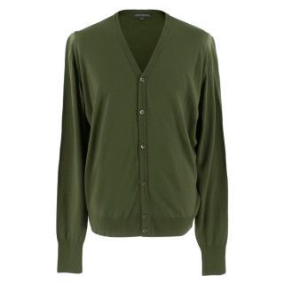 John Smedley Whitchurch Green Wool Cardigan