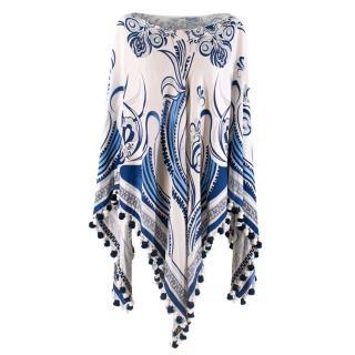 Emilio Pucci Blue & White Silk Printed Poncho with Pom Poms