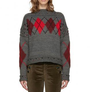 Isabel Marant wool & alpaca blend argyle sweater