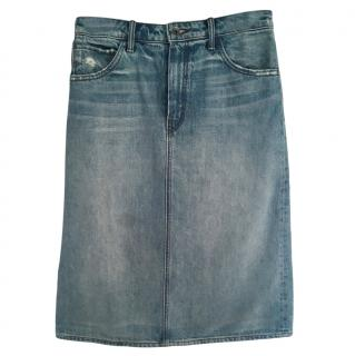 Helmut Lang A-line Blue Denim Skirt