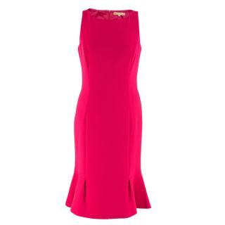 Michael Kors Collection Pink Midi Wool Dress