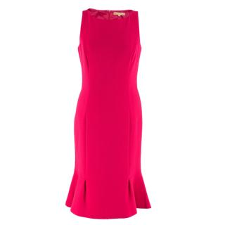 Michael Kors Collection Pink Midi Wool Dress