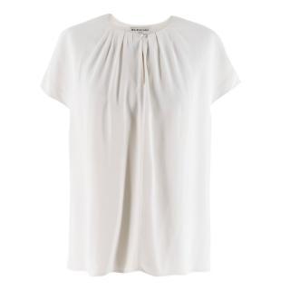 Balenciaga White Satin Blouse