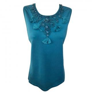 Oscar De la Renta turquoise silk blend sleeveless top