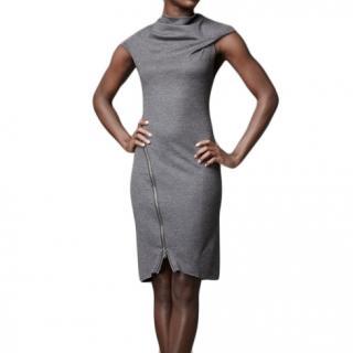 Helmut Lang grey wool dress with zip detail