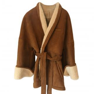 Osman tan wrap around sheepskin coat