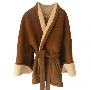 Osman tan wrap around sheepskin coat