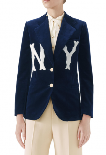 Gucci Two-button Soft Cotton Velvet Jacket W/ Ny Yankees Mlb Patch