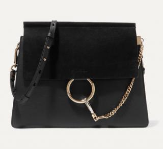 Chloe Black Leather & Suede Faye Bag