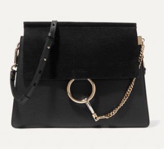 Chloe Black Leather & Suede Faye Bag