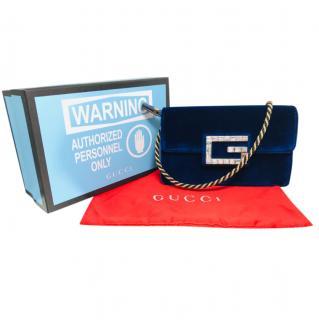 Gucci Blue Velvet Broadway Shoulder Bag