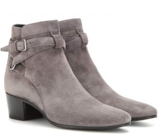 Saint Laurent Grey Suede Blake 40 Jodhpur Boots