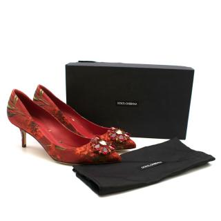 Dolce & Gabbana Decollete Brocade Floral Crystal Embellished Pumps